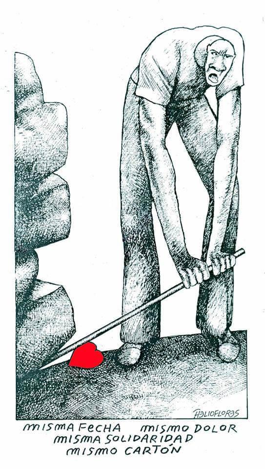 Caricatura de Helio Flores sobre el sismo en México
