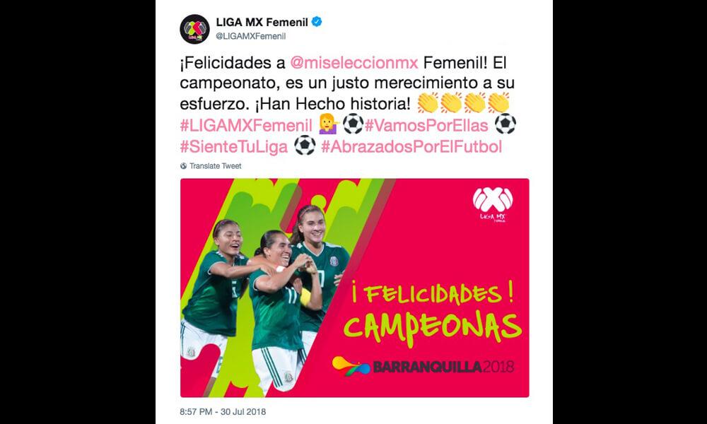 Felicitaciones para el Tri Femenil por la Liga MX Femenil