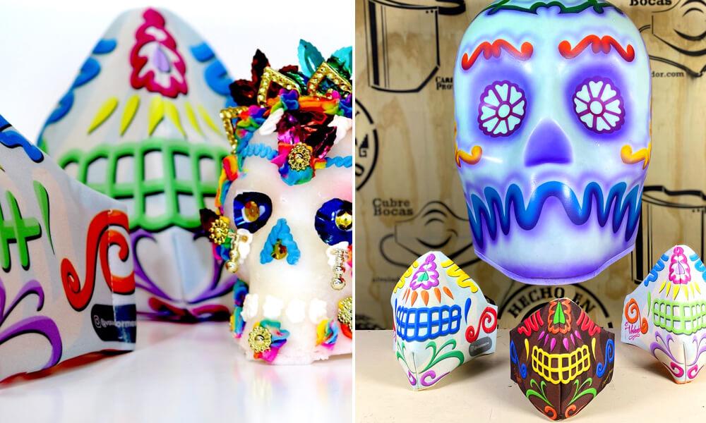 Cubrebocas inspirados en las calaveras de azúcar